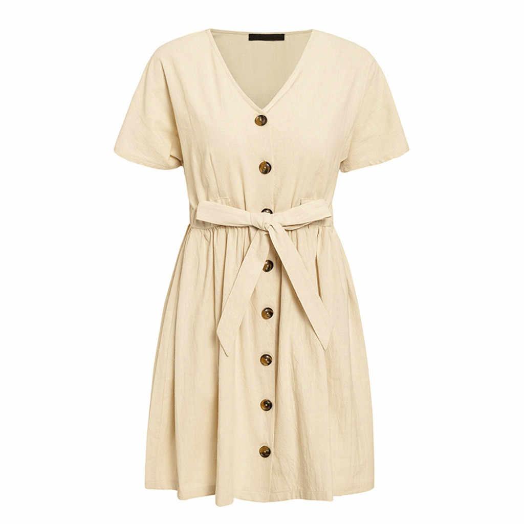 Винтажное мини-платье с поясом на пуговицах, женская рубашка с v-образным вырезом и коротким рукавом, хлопковое льняное летнее платье, элегантное женское платье трапециевидной формы, 2019 Халат