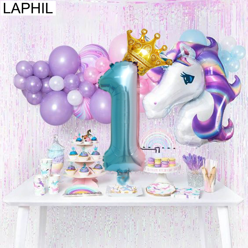 LAPHIL Birthday Party Balloons 32inch Foil Number Balloon 1 2 3 4 5 6 7 8 9 Years Happy Decorations Kids Ballons