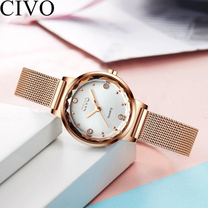 CIVO Luxury Gold Womens Watches Starry Sky Diamond Mesh Strap Ladies Quartz Watch Women Waterproof Wristwatches Clock Women's Watches     - title=