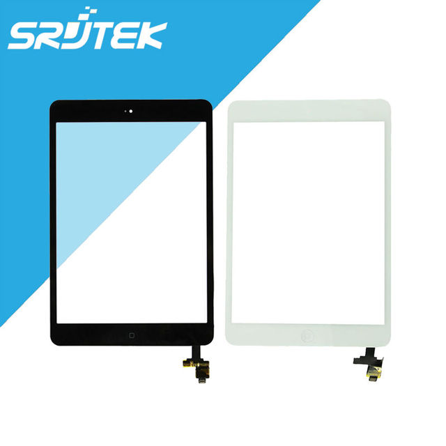 Para ipad mini 1 mini 2 vidro da tela de toque digitador assembléia com ic connector & home button completa completo preto/branco