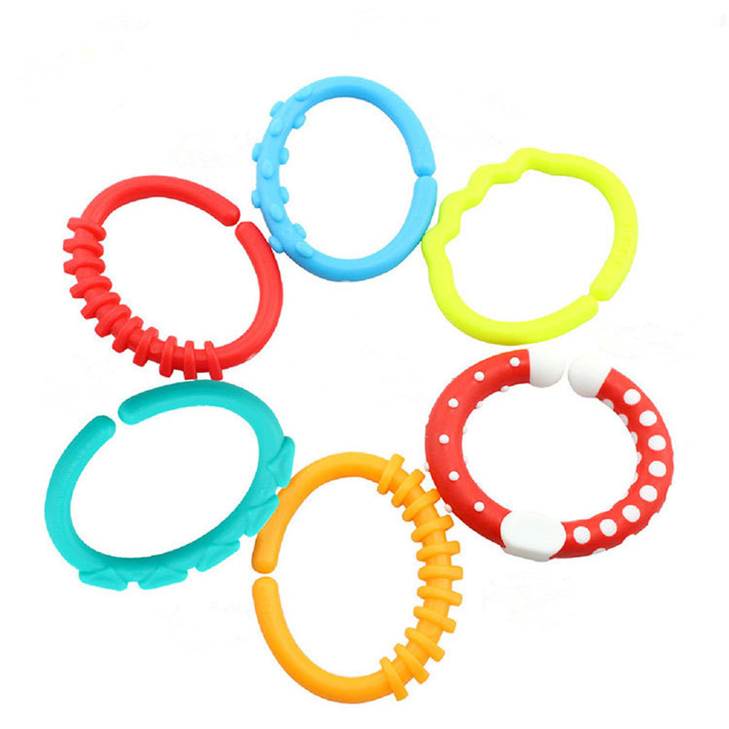Happy monkey 6 pcs/set Baby teether gum stick Grasping Toys Rainbow molar Circle clasp c ...