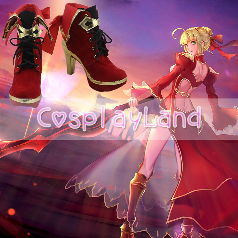 Fate EXTRA Nero Claudius Saber Cosplay Boots Shoes for Adult Women Shoes Costume Accessories Custom Made Halloween