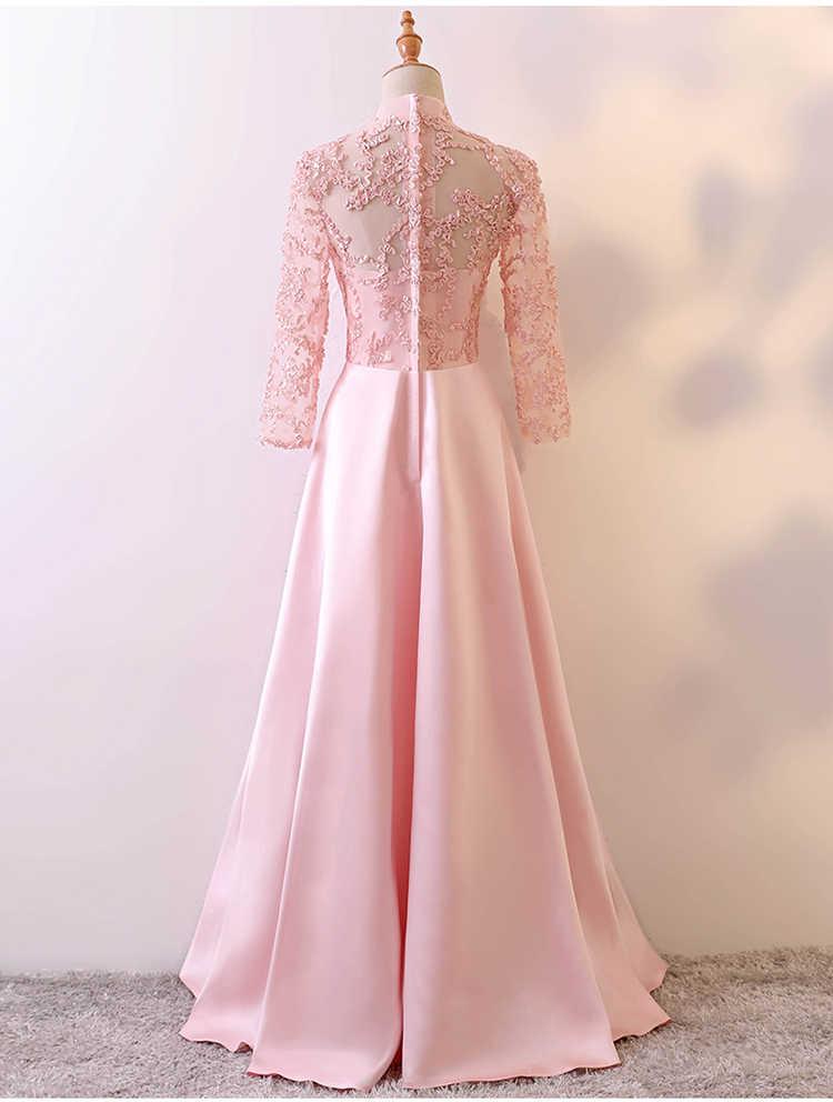 ... vestidos de festa vestido longo para casamento 2018 lace neck long  sleeve a line pink champagne ... 50bf37b5fcdf