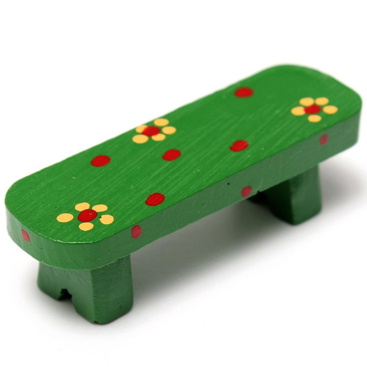 Hgho-миниатюрный Cute скамья микро пейзаж кукольный завод DIY Craft домашний садовый декор, орнамент зеленый