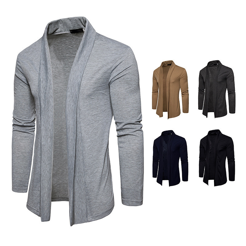 New Fashion Mens Cardigan Long Sleeve Cardigan Sweater Casual Coat Solid Color Slim Jacket Spring and Autumn Tops