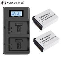 PALO 2pcs LP E17 camera battery+2slot LCD display charger For Canon EOS 750D 200D 760D T6i T6S M3 M5 X8i 8000D KISS X8i cameras