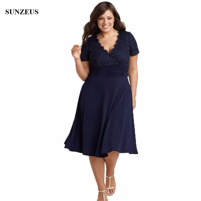 Plus Size Mother Of The Bride Dress Tea Length Navy Blue Chiffon ...