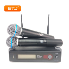 ETJ Brand UHF Dual Wireless Microphone System SLX24 2 Handheld For Church Stage More Channel Than SLX24 PGX24 high end uhf 8x50 channel goose neck desk wireless conference microphones system for meeting room