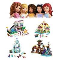 Bela 10498 10497 JG301 306 Sparkling Elsa S Castle Anna Princess Model Building Pop Star House