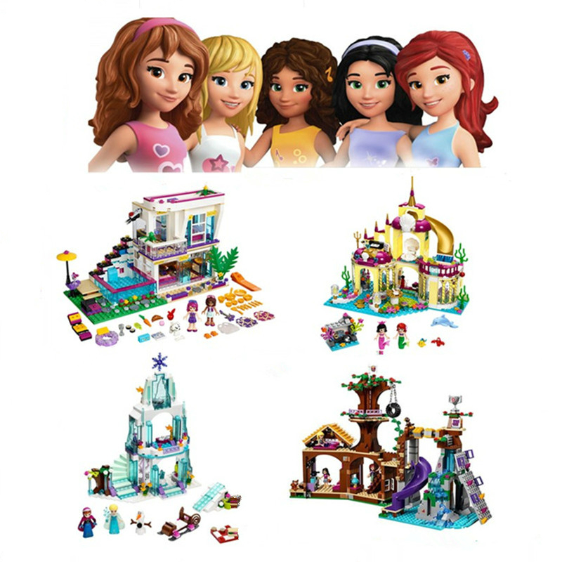 Bela 10498 10497 JG301 306 Sparkling Elsa's Castle Anna Princess Model Building Pop Star House Kits Blocks Brick Toy Gift ynynoo bela 10501 233pcs princess friend elves elvendale school of dragons model building kits blocks brick with 41173