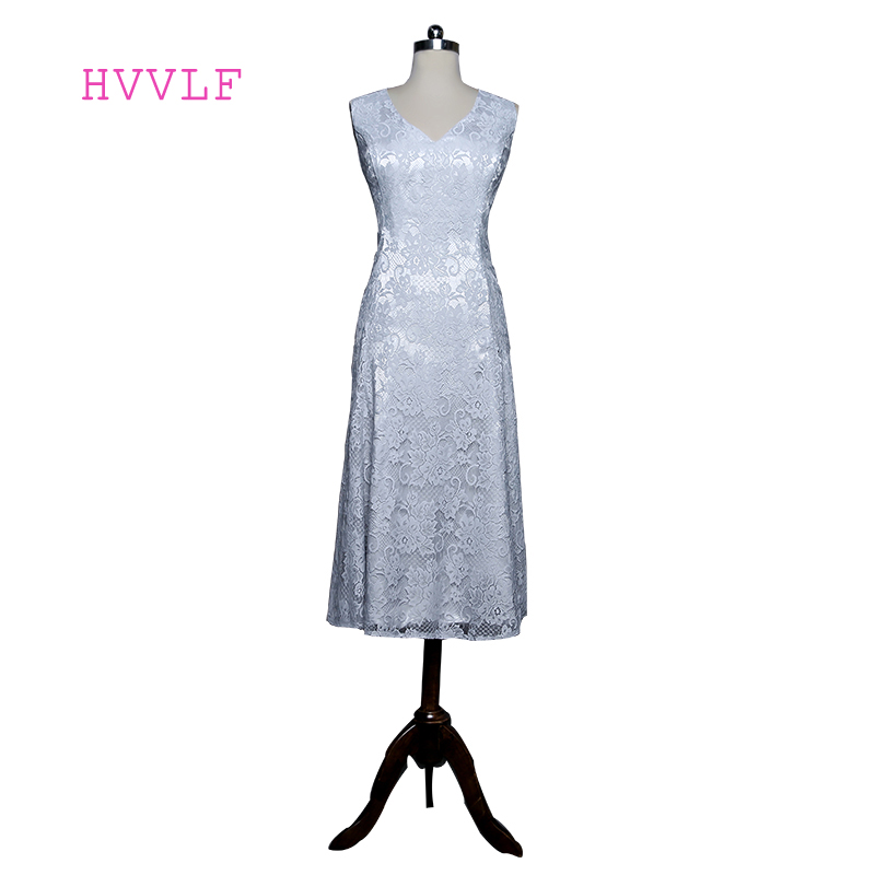 Silver 2019 Mother Of The Bride Dresses A-line V-neck Tea Length Cap Sleeves Lace Short Mother Dresses For Weddings