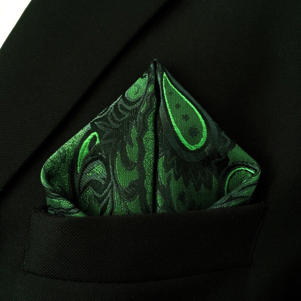 Paisley Green Batistă neagră Buzunar Mătase pătrată Mătase - Accesorii pentru haine - Fotografie 3