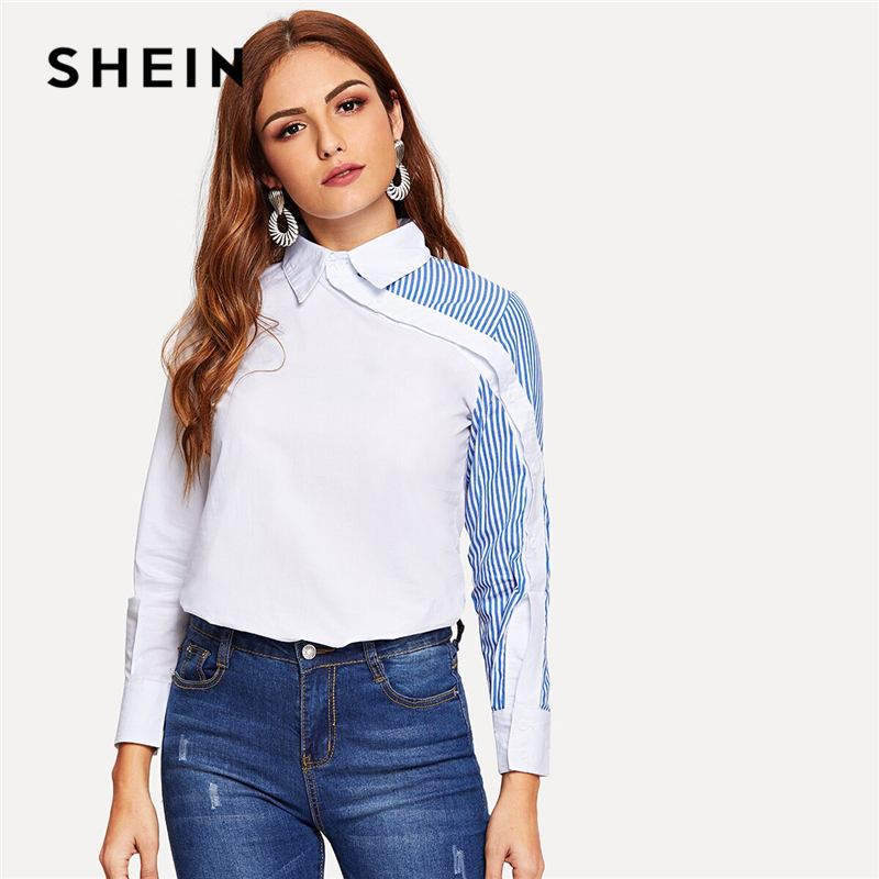 SHEIN White Striped Button Decoration Shirt Classy Blouse Women Summer Autumn Asymmetric Placket Turn Down Collar Office Blouses