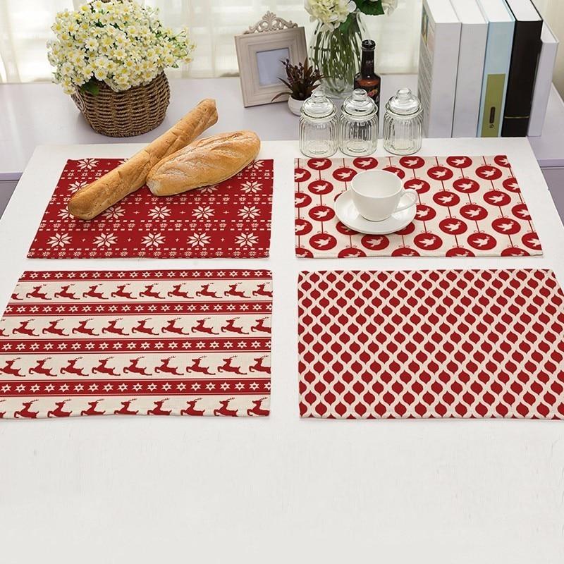 unid estera de tabla mantel raya pintado a mano rbol de navidad impresas para tablas de cocina comedor coji
