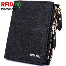 New RFID Blocking Protection Anti Theft Scan Men Biflod Short Wallet Zipper font b Coin b