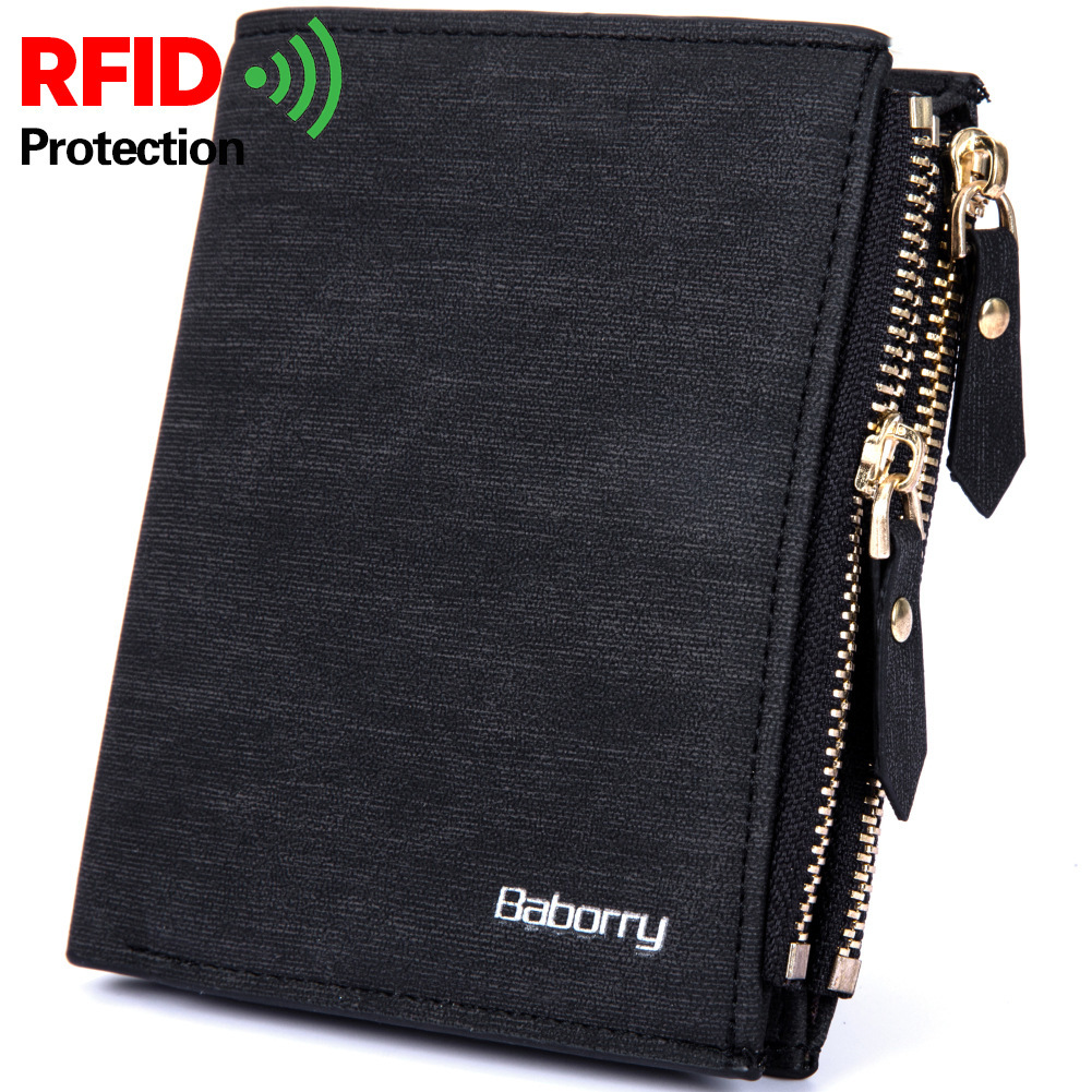 RFID Blocking Protection Anti-Theft Scan Men Male PU Leather Biflod Short Wallet Zipper Coin Case Pouch Casual Money Bag Purse