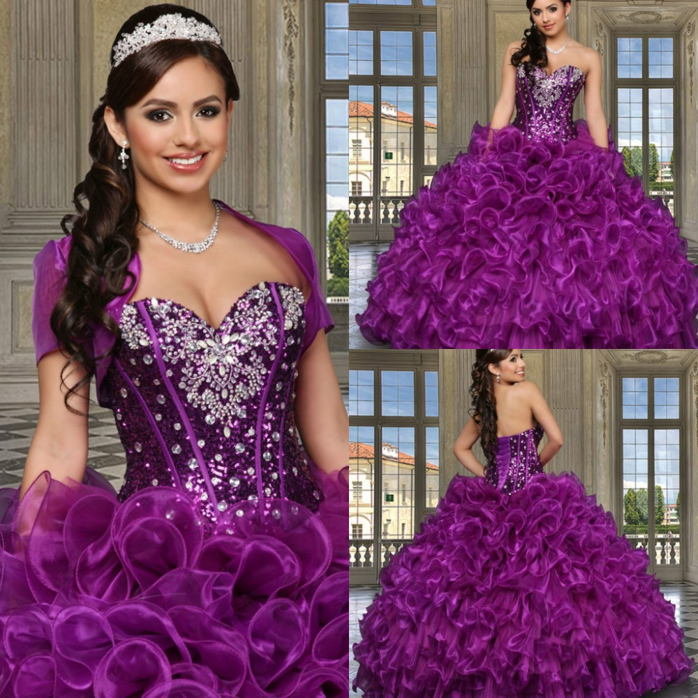 2015 New Sparkling Sweetheart Crystal Purple Quinceanera