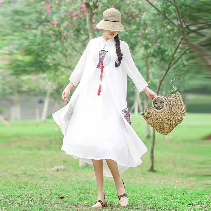 2019 femmes robe trois quart manches broderie vent gilet + crème solaire sur la chine portant costumes robes blanc rose rouge noir 2699