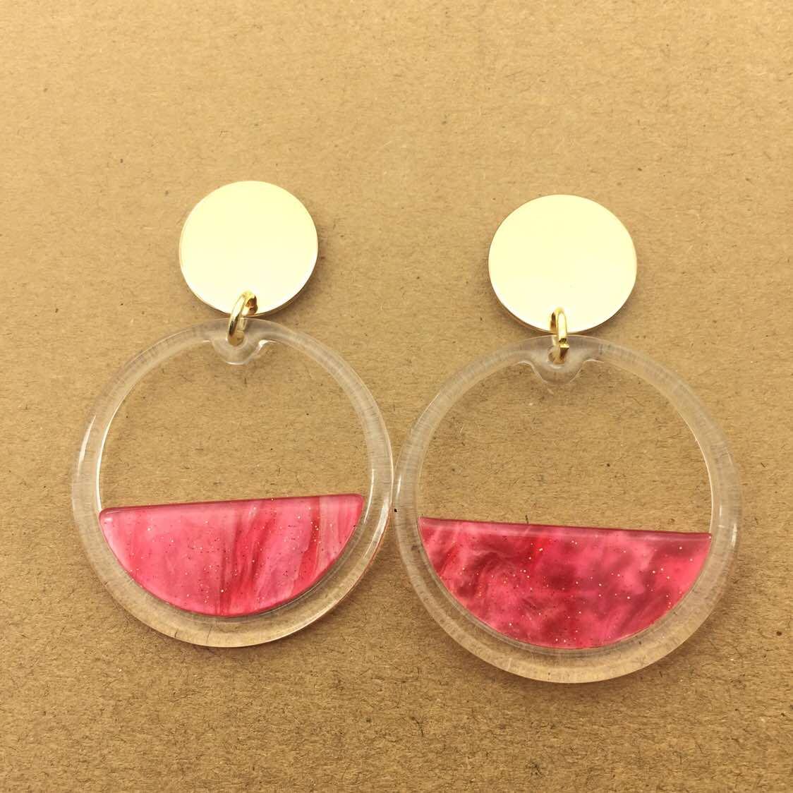 Vintage Earings Large Round Acrylic Earrings for Women Fashion Jewelry Brincos Boho Earring Pendientes Earing Brinco Oorbellen