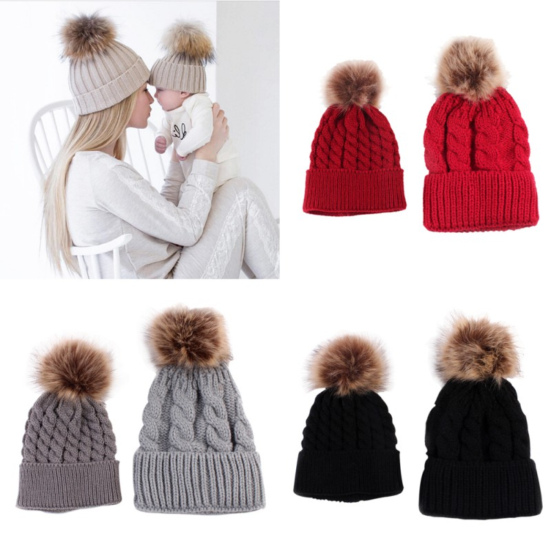 2Pcs Baby & Mother Knitted Cotton Hats for Winter Family Boys Girls Toddler Adult Cute Crochet Beanies Fur Ball Kids Hat Caps