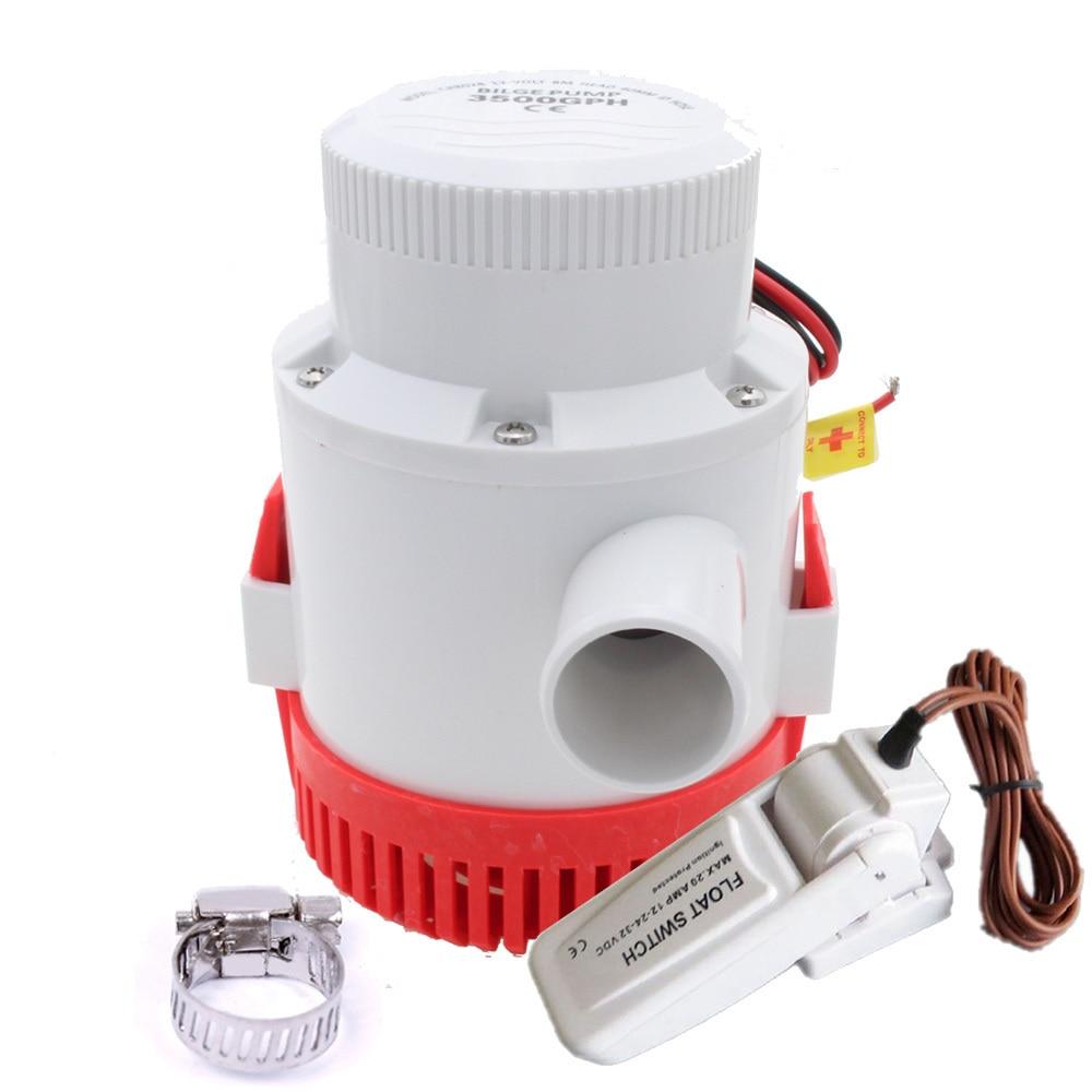 Pompe à eau Marin 12 V 24 V 3500GPH cale DC bateau pompe automatique Wimming piscine avec interrupteur à flotteur