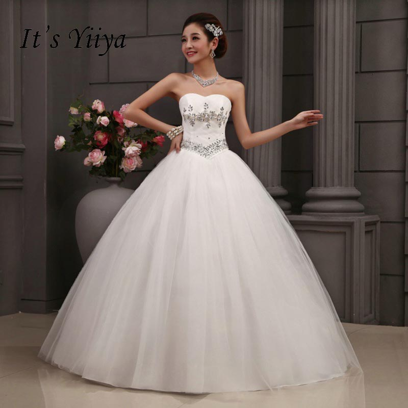 Free Shipping Sequins Strapless Wedding Dresses Cheap White Summer Style Bride Gowns Princess Frocks Vestidos De Novia MY228