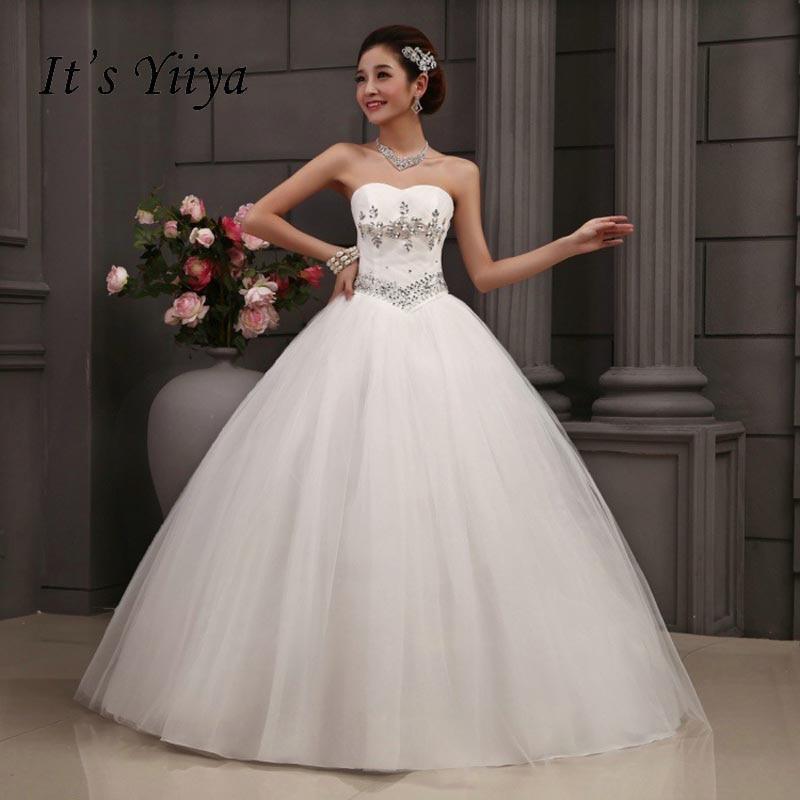 무료 배송 Sequins Strapless 웨딩 드레스 저렴한 흰색 여름 스타일 신부 가운 공주 Frocks Vestidos 드 Novia MY228