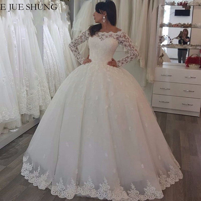E JUE SHUNG Vintage Lace Appliques Off The Shoulder Wedding Dresses Ball Gown Long Sleeves Wedding Gowns Bride Dress