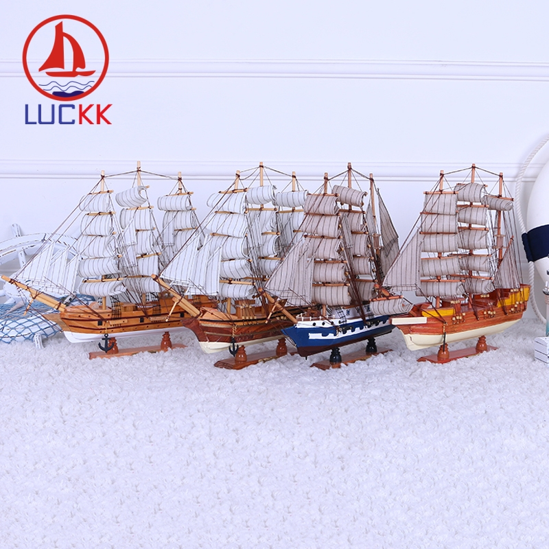 LUCKK DIY 45 CM Wooden Sailboat Ship Model 4 Color Patchwork Wholesale Home Decoration Accessorie Crafts Exquisite Free Shipping