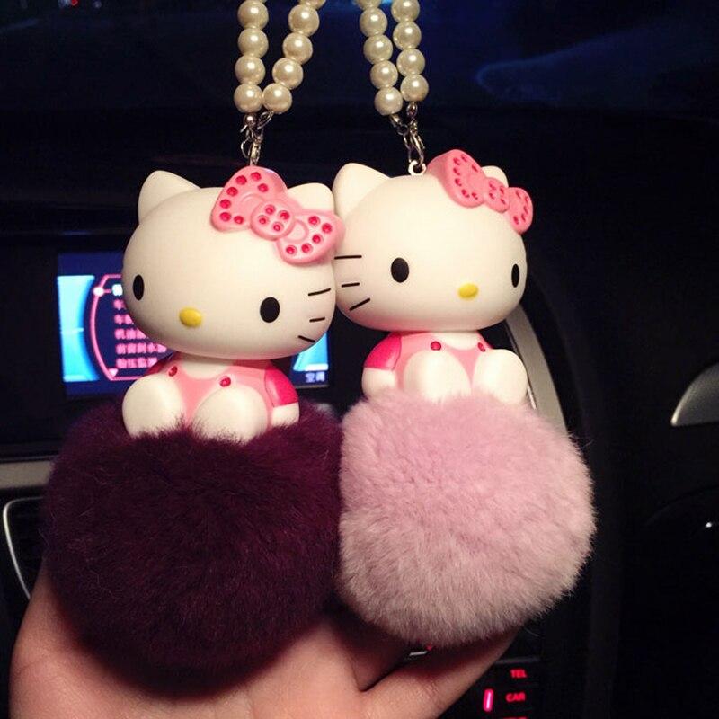 1 Pcs Bonjour Kitty KT Chat Mignon Pendentif Intérieur de la Voiture ornements Anime poupées Car Styling Accessoires
