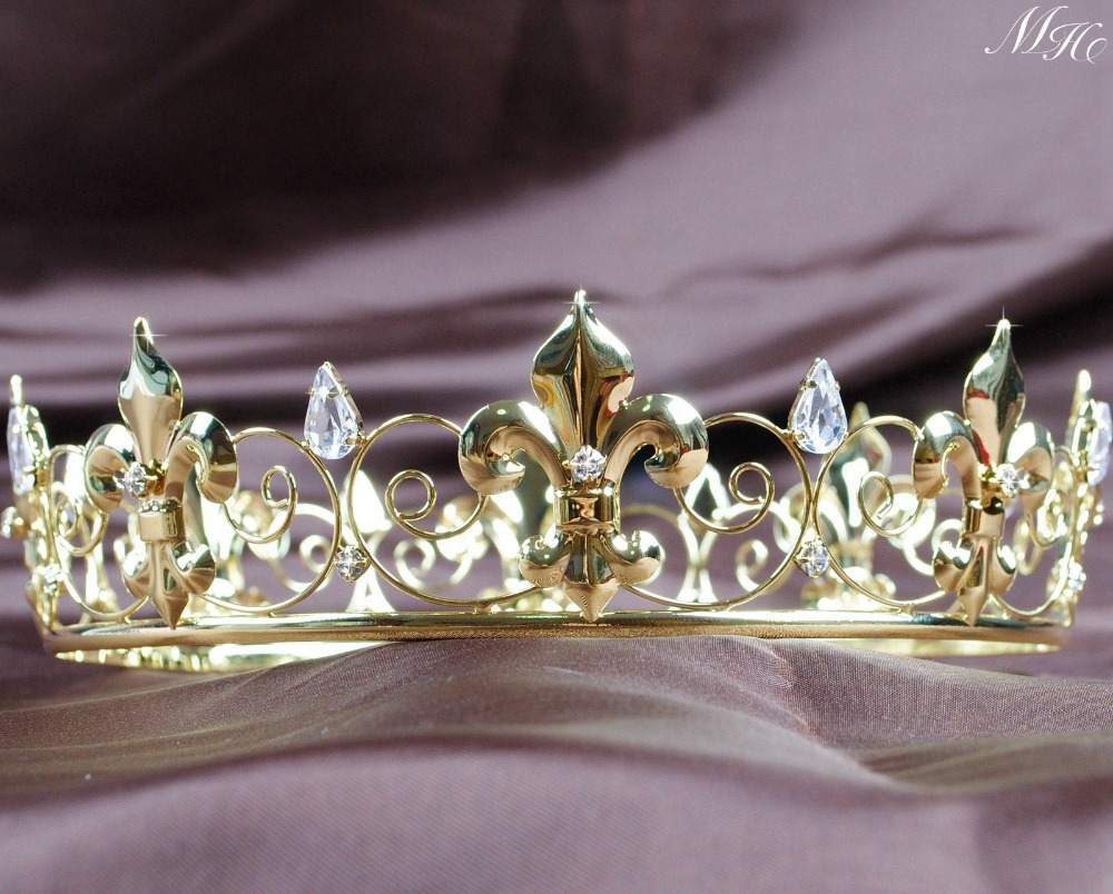 Crowns full circle round tiaras rhinestones crystal wedding bridal - Imperial Medieval Full Circle Round Crown Gold Tone Tiara Clear Crystal Wedding Bridal Pageant Party Prom