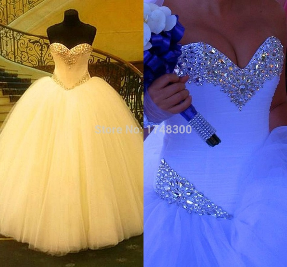 Big ball gown shiny crystals ivory wedding dresses tiered for Big tulle ball gown wedding dress