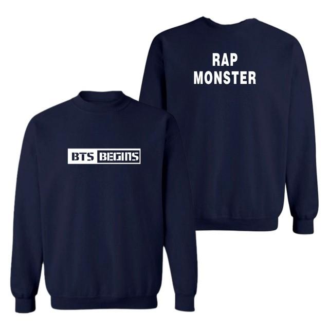 BTS RAP MONSTER Logo Crewneck Sweater Sweatshirt Pullover Longsleeve