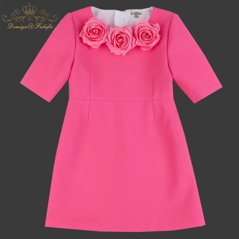 Hot Sale New 2018 Baby Girl Pink Fashion Princess Flower Elegant Dress Summer Casual For Kids Children Roupas Infantil Meninas free shipping new arrival 2015 fashion summer baby girl lovely flower sleeveless bowknot round neck party dress hot sale