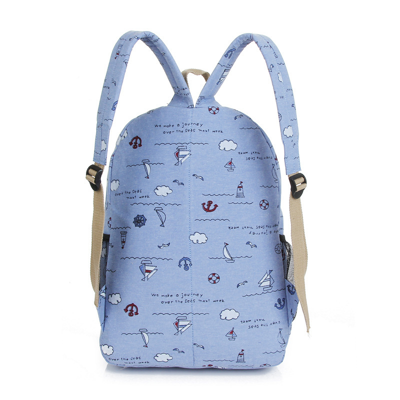 80e44eec2465 Hot Sale 2019 Fashion Simple Korean Backpack For Teen Girl Cute Cloud Print  Student Canvas School Bag Women Travel Backpack-in Backpacks from Luggage    Bags ...