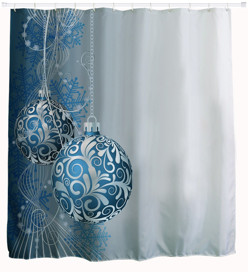 Us 12 99 3d Blue Balls Christmas Shower Curtains Waterproof Polyester Fabric Bathroom Curtains Snowflake Bath Curtains 180x180cm Cortinas In Shower