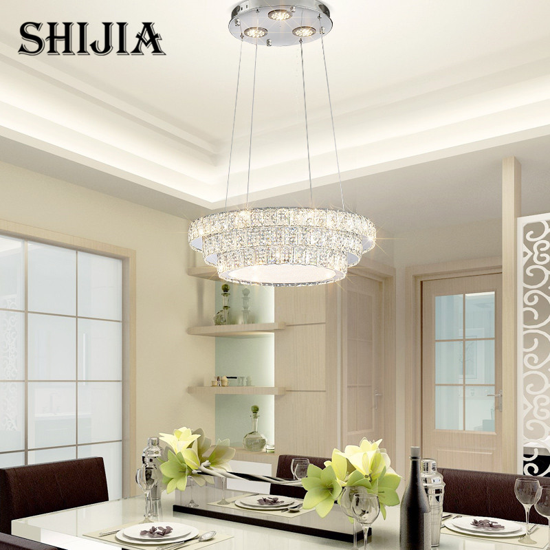Modern Led Remote Control Crystal Chandelier Lighting for Dining Room Ring Pendant Lamp for Bedroom Living Room Hotel lamp black crystal chandelier light modern black chandelier lighting bedroom dining room living lobby lamp lighting candle bulb