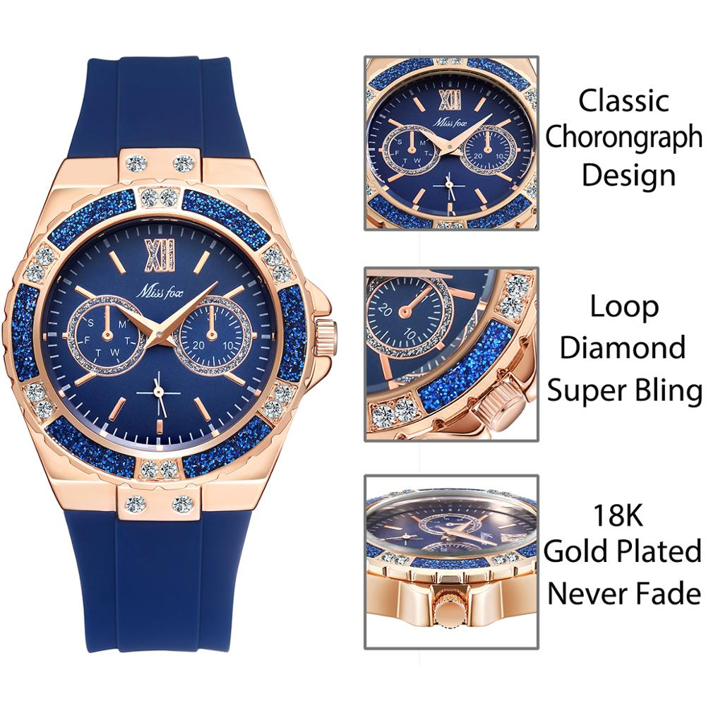 MISSFOX Women's Watches Chronograph Rose Gold Sport Watch Ladies Diamond Blue Rubber Band Xfcs Analog Female Quartz Wristwatch 2