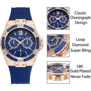 Image 2 - Missfox 여성용 시계 크로노 그래프 로즈 골드 스포츠 시계 숙녀 다이아몬드 블루 고무 밴드 xfcs 아날로그 여성 쿼츠 손목 시계
