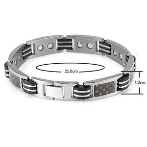 Для мужчин Исцеление титан браслет энергии магнитный с углеродного волокно серебристый, черный для и женщин OTB-1272B