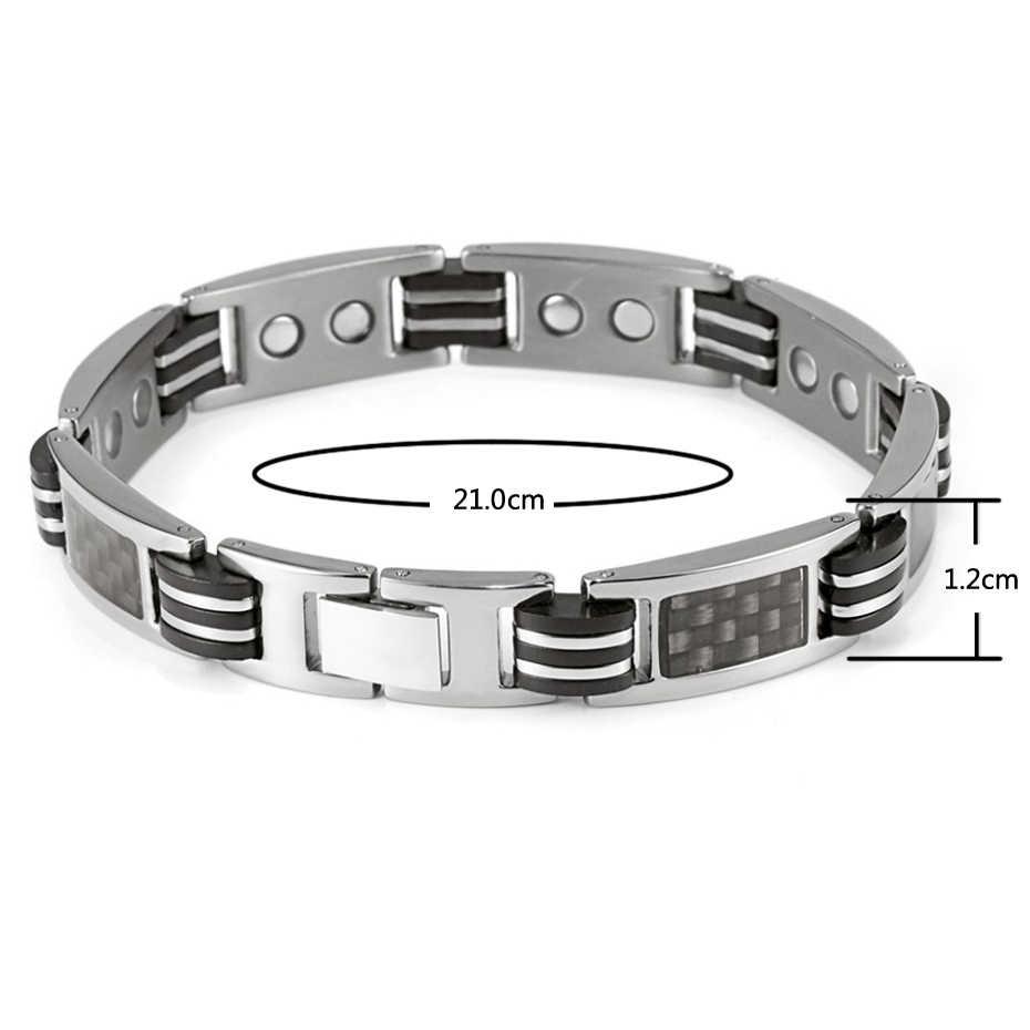 Pulsera de titanio curativo para hombres, pulsera magnética energética con fibra de carbono negro para hombres y mujeres OTB-1272B