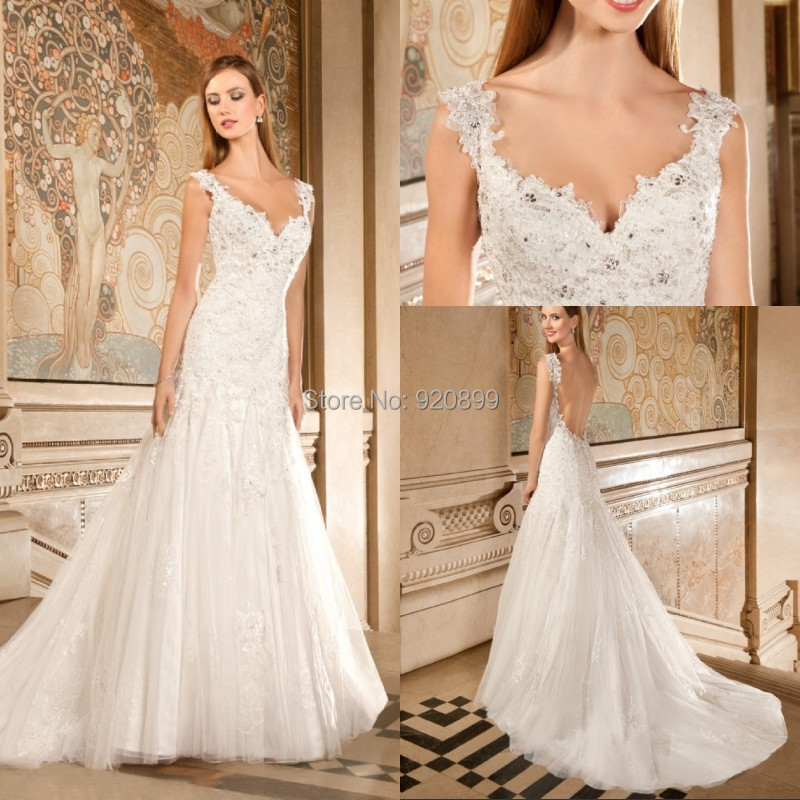 Backless Wedding Gowns For Sale: Free Shipping Hot Sale Cap Sleeve Dress Wedding Beaded
