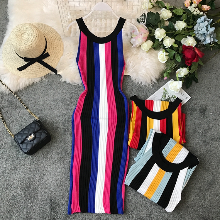 ALPHALMODA Summer 2019 New Round Neck Rainbow Vertical Striped Women Vintage Sexy Knit Dress Sleeveless Pullovers Ladies Vestido 20