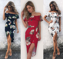 2017 off shoulder Fashion high waist chiffon Women Summer Boho Floral Flower Beach party Bandage Bodyco