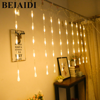 BEIAIDI 2.5M 50LED Waterdrop Icicle Curtain String Light Christmas String Garland Wedding Valentines Chain Banner Decor Lighting