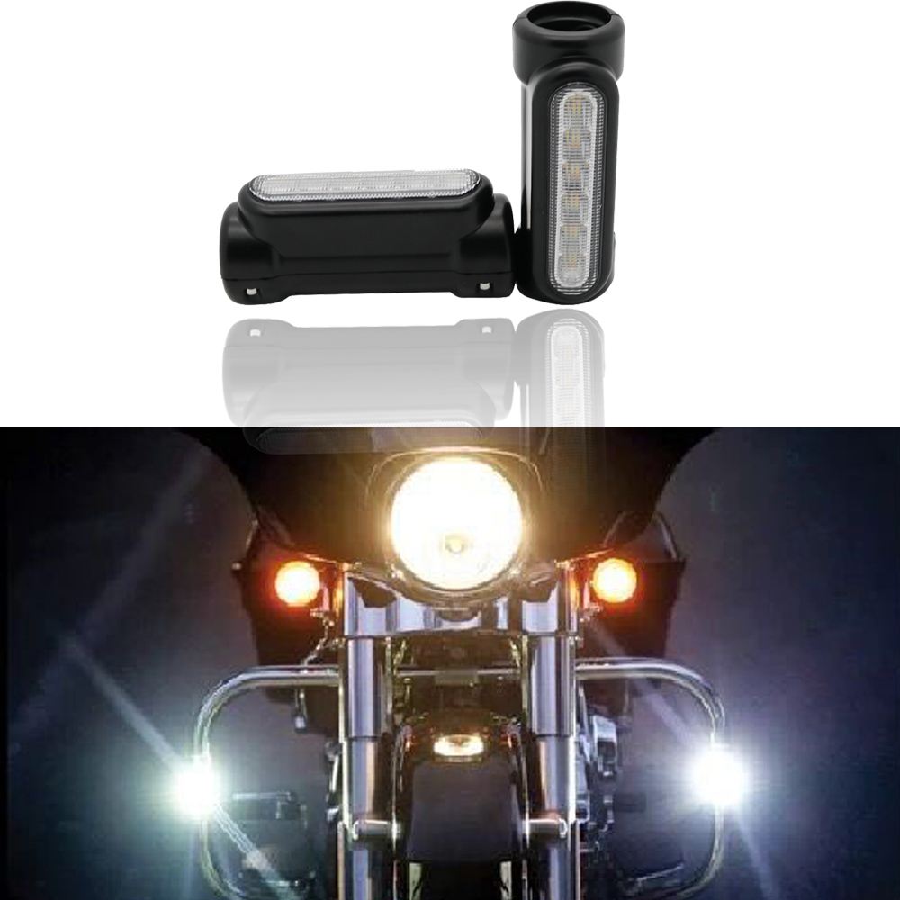 Black/Chrome Handlebar Or Engine Guard Lights 1.25x3.75BTW Textured / White Light / Amber Turning Signal
