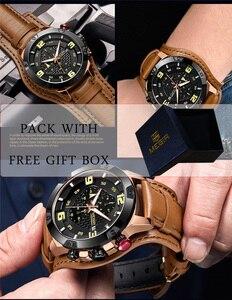 Image 2 - MEGIR Men Watch Top Brand Luxury Gold Chronograph Wristwatch Date Military Sport Leather Band Male Clock Relogio Masculino 2099