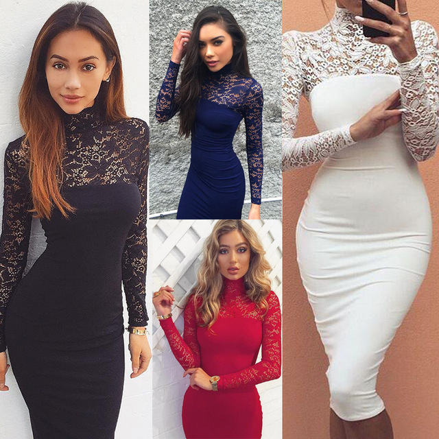 2aa5e2e81463 2017 Sexy Women Lace Dress Autumn Winter Long Sleeve High Neck Bodycon Dress  Black Club Dress Red Party Dress Vestidos Robe Sexy