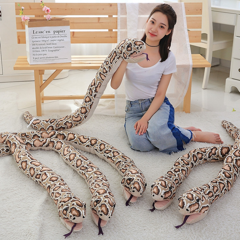 1pc 155cm Simulation Plush Toys Stuffed Giant Snake Animal Toy Soft Dolls Bithday Christmas party Gifts baby Funny Hand Puppet