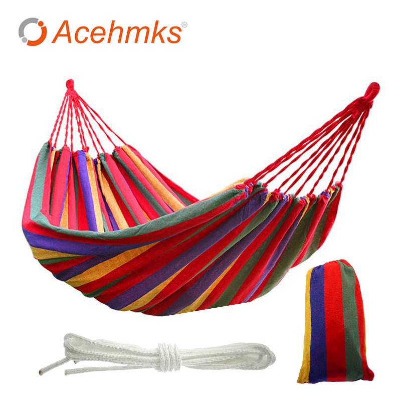 Acehmks Canvas Hammock Portable Stripe Hang Bed For Outdoor Home Travel Camping Hiking Blue Red 200CMX80CM 150 KGS Single acehmks travel camping swing portable outdoor garden hang bed hamac for camp canvas hammock with tree ropes blue red 200cmx80cm